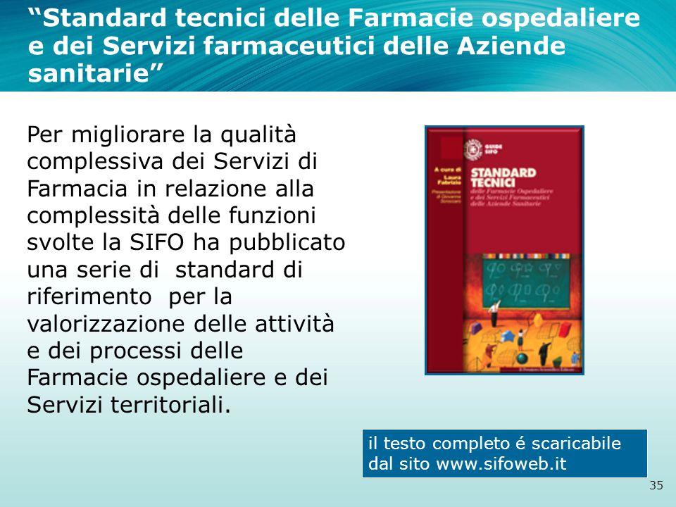 Standard tecnici delle Farmacie ospedaliere e dei Servizi farmaceutici delle Aziende sanitarie 35 Per migliorare la qualità complessiva dei Servizi di