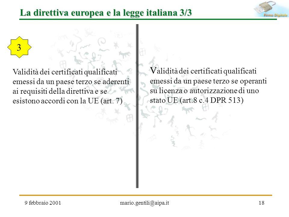 9 febbraio 2001mario.gentili@aipa.it18 La direttiva europea e la legge italiana 3/3 Validità dei certificati qualificati emessi da un paese terzo se a