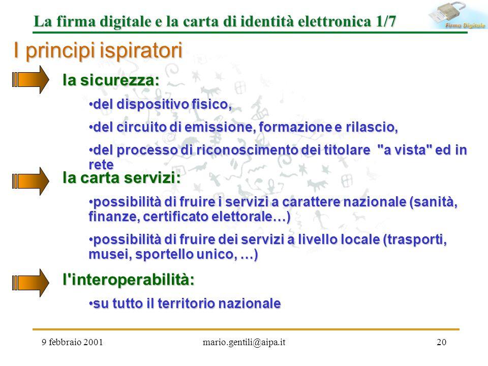 9 febbraio 2001mario.gentili@aipa.it20 La firma digitale e la carta di identità elettronica 1/7 I principi ispiratori la sicurezza: la sicurezza: del