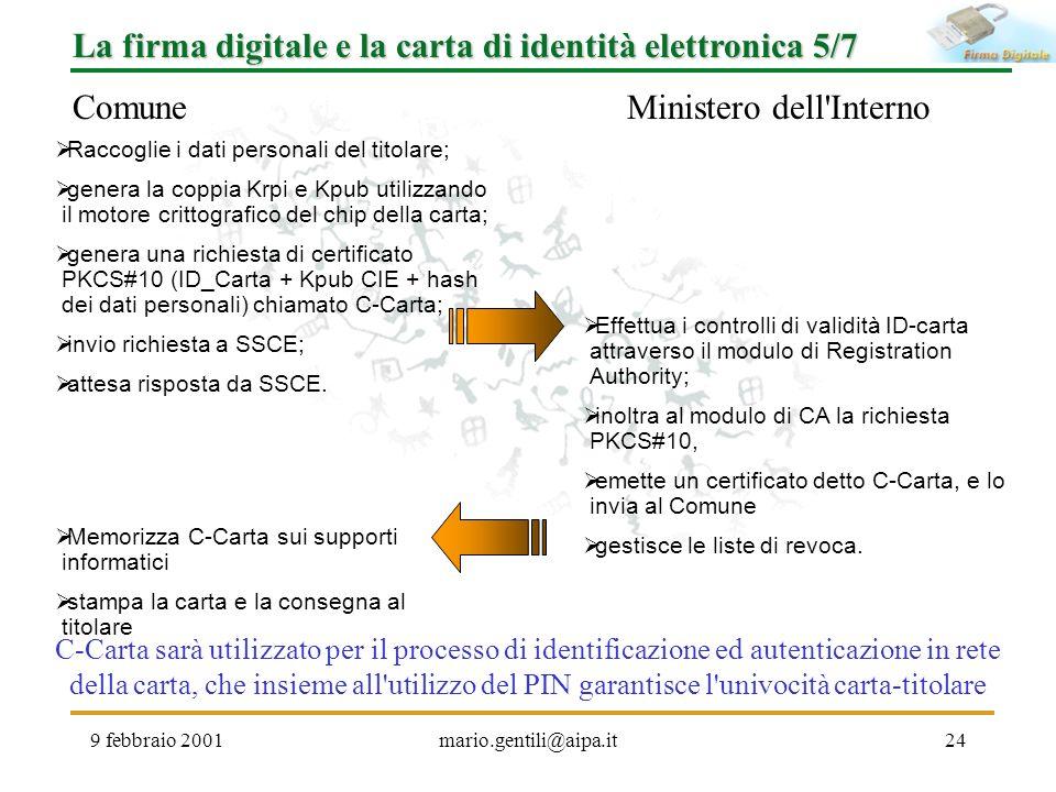 9 febbraio 2001mario.gentili@aipa.it24 La firma digitale e la carta di identità elettronica 5/7 ComuneMinistero dell'Interno Raccoglie i dati personal