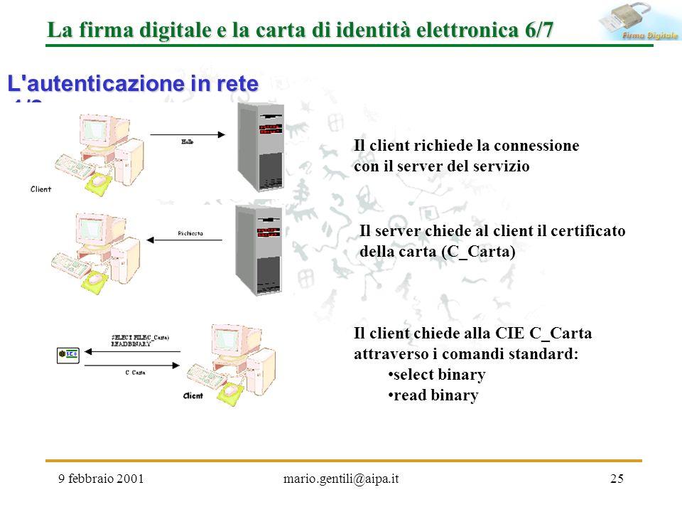 9 febbraio 2001mario.gentili@aipa.it25 La firma digitale e la carta di identità elettronica 6/7 L'autenticazione in rete 1/2 Il client richiede la con