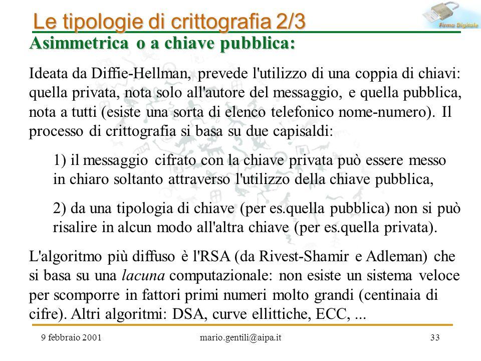 9 febbraio 2001mario.gentili@aipa.it33 Asimmetrica o a chiave pubblica: Ideata da Diffie-Hellman, prevede l'utilizzo di una coppia di chiavi: quella p