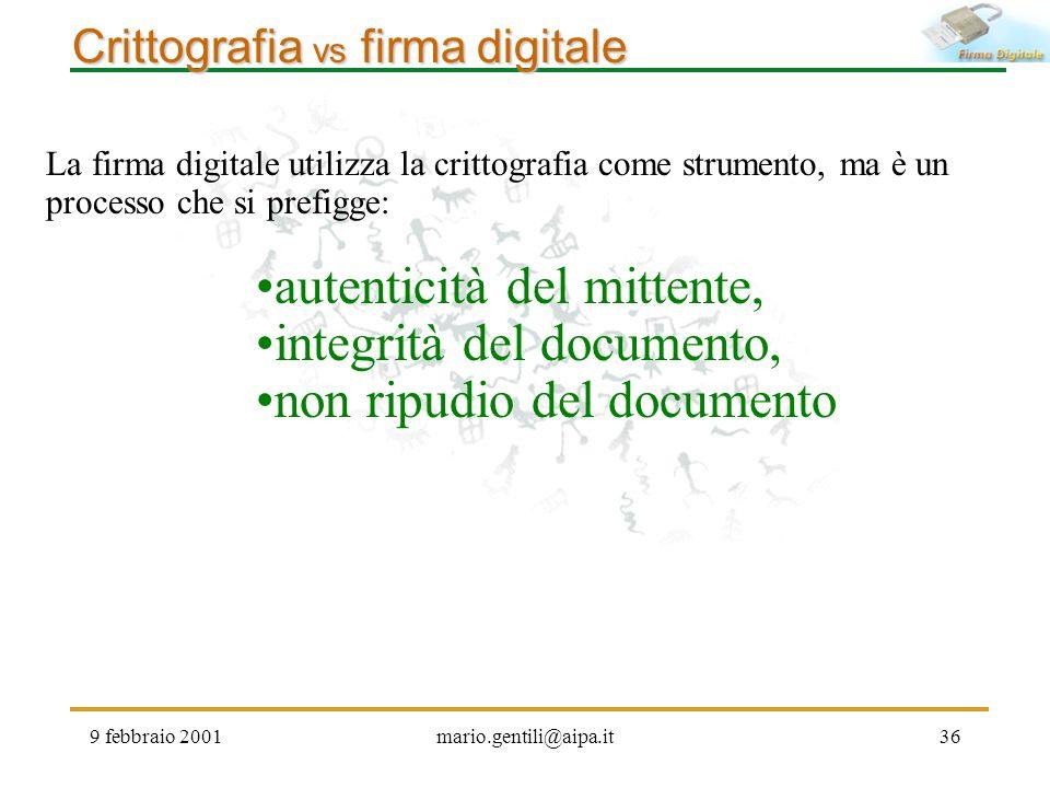 9 febbraio 2001mario.gentili@aipa.it36 Crittografia vs firma digitale La firma digitale utilizza la crittografia come strumento, ma è un processo che