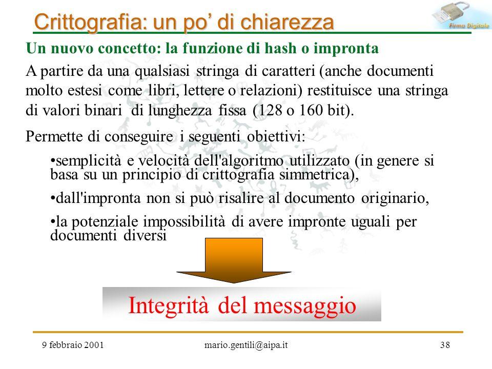9 febbraio 2001mario.gentili@aipa.it38 Crittografia: un po di chiarezza Un nuovo concetto: la funzione di hash o impronta A partire da una qualsiasi s