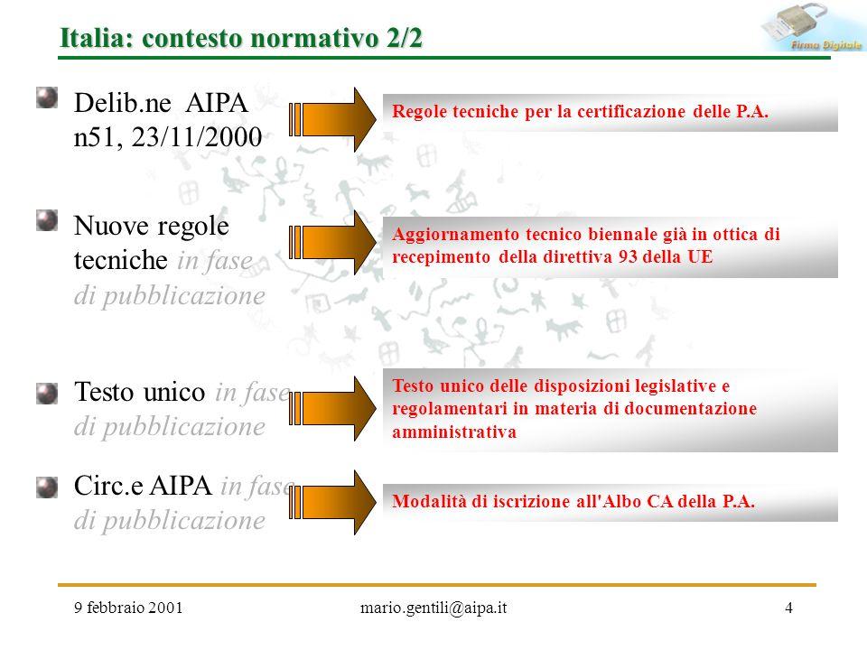 9 febbraio 2001mario.gentili@aipa.it4 Italia: contesto normativo 2/2 Nuove regole tecniche in fase di pubblicazione Aggiornamento tecnico biennale già