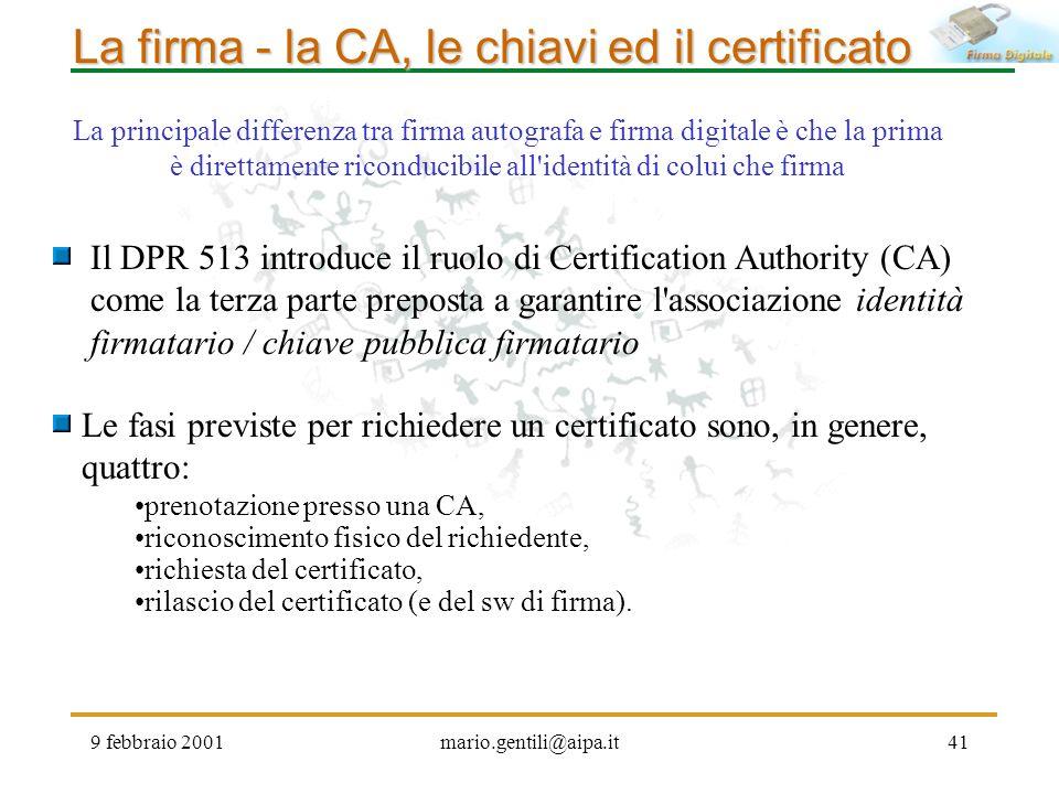 9 febbraio 2001mario.gentili@aipa.it41 La firma - la CA, le chiavi ed il certificato Il DPR 513 introduce il ruolo di Certification Authority (CA) com