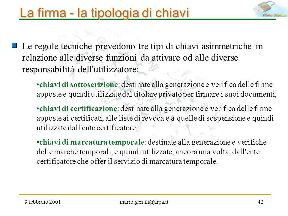 9 febbraio 2001mario.gentili@aipa.it42 La firma - la tipologia di chiavi Le regole tecniche prevedono tre tipi di chiavi asimmetriche in relazione all