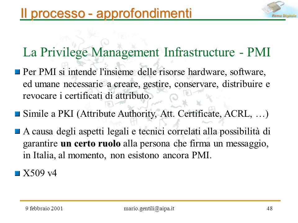9 febbraio 2001mario.gentili@aipa.it48 Il processo - approfondimenti La Privilege Management Infrastructure - PMI Per PMI si intende l'insieme delle r
