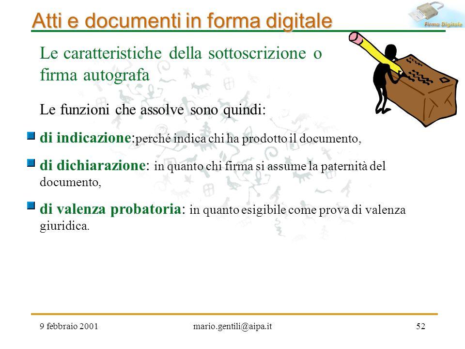 9 febbraio 2001mario.gentili@aipa.it52 Atti e documenti in forma digitale Le caratteristiche della sottoscrizione o firma autografa Le funzioni che as