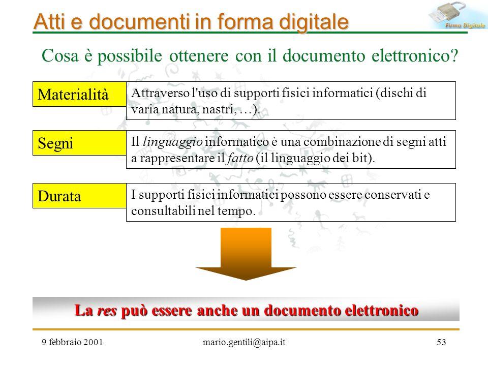 9 febbraio 2001mario.gentili@aipa.it53 Atti e documenti in forma digitale Cosa è possibile ottenere con il documento elettronico? Materialità Segni Du