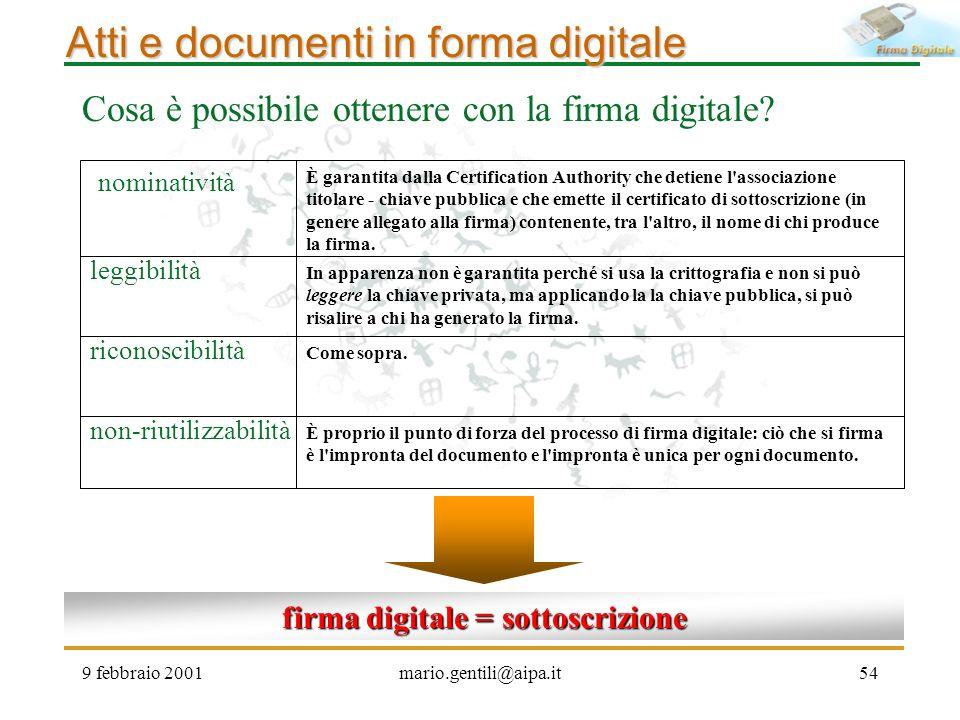 9 febbraio 2001mario.gentili@aipa.it54 Atti e documenti in forma digitale Cosa è possibile ottenere con la firma digitale? firma digitale = sottoscriz
