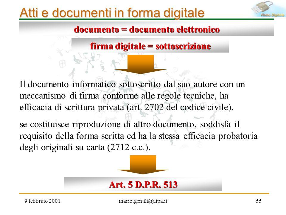 9 febbraio 2001mario.gentili@aipa.it55 Atti e documenti in forma digitale firma digitale = sottoscrizione Il documento informatico sottoscritto dal su