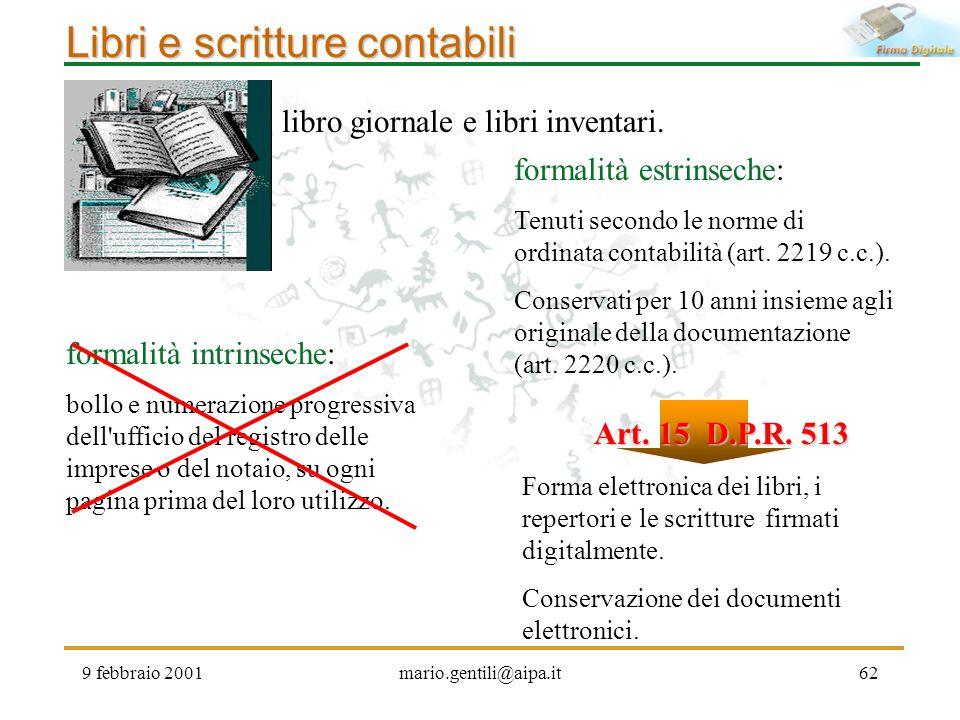 9 febbraio 2001mario.gentili@aipa.it62 Libri e scritture contabili formalità intrinseche: bollo e numerazione progressiva dell'ufficio del registro de