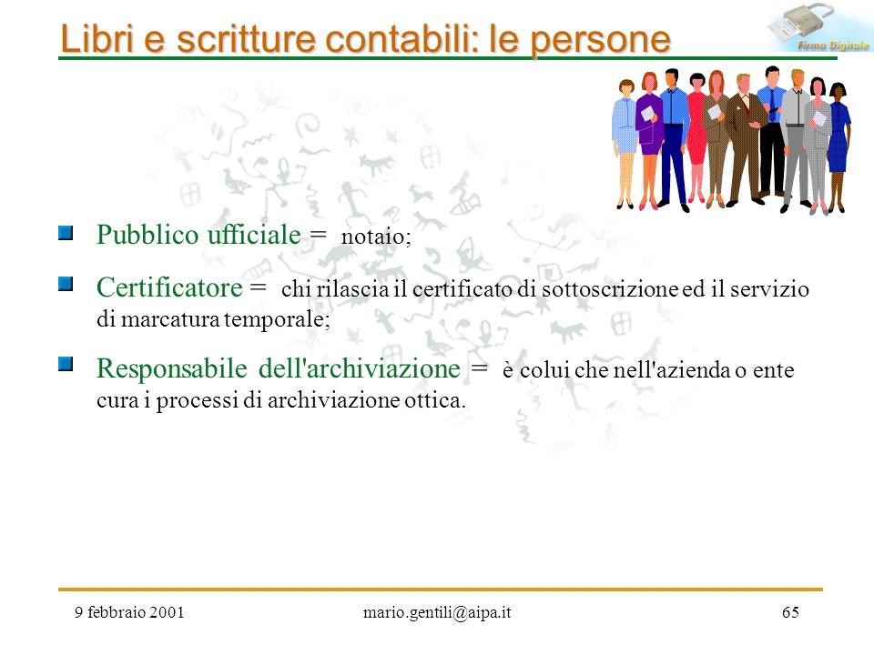 9 febbraio 2001mario.gentili@aipa.it65 Libri e scritture contabili: le persone Pubblico ufficiale = notaio; Certificatore = chi rilascia il certificat
