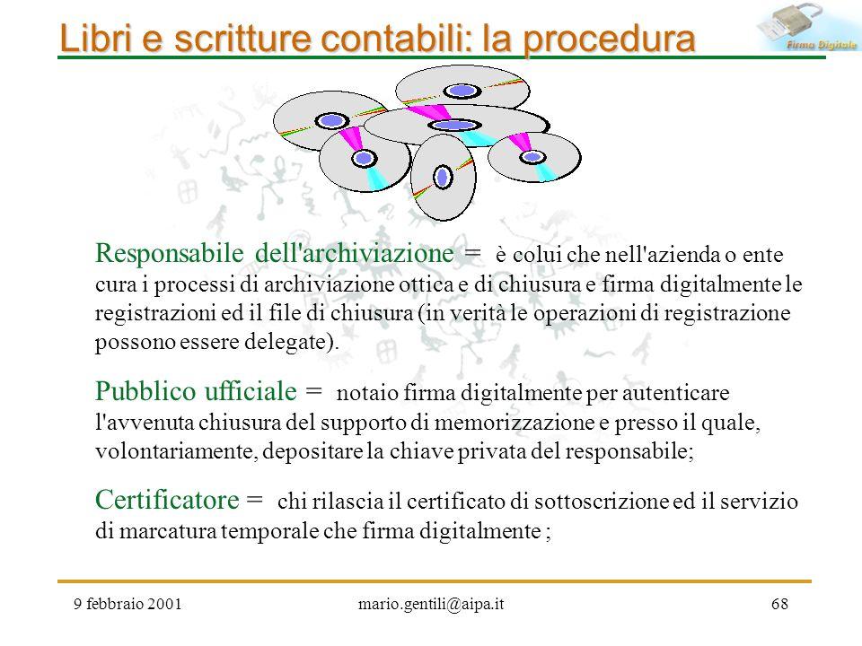 9 febbraio 2001mario.gentili@aipa.it68 Libri e scritture contabili: la procedura Responsabile dell'archiviazione = è colui che nell'azienda o ente cur
