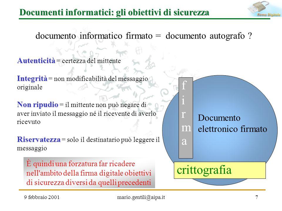 9 febbraio 2001mario.gentili@aipa.it7 Documenti informatici: gli obiettivi di sicurezza documento informatico firmato = documento autografo ? firmafir