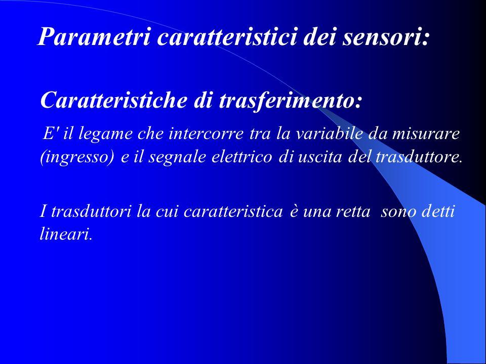 Parametri caratteristici dei sensori: Caratteristiche di trasferimento: E il legame che intercorre tra la variabile da misurare (ingresso) e il segnale elettrico di uscita del trasduttore.