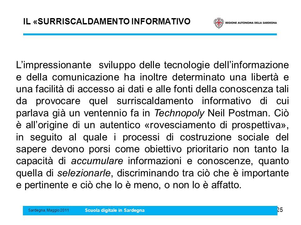 25 IL «SURRISCALDAMENTO INFORMATIVO Sardegna, Maggio 2011 Scuola digitale in Sardegna Limpressionante sviluppo delle tecnologie dellinformazione e del