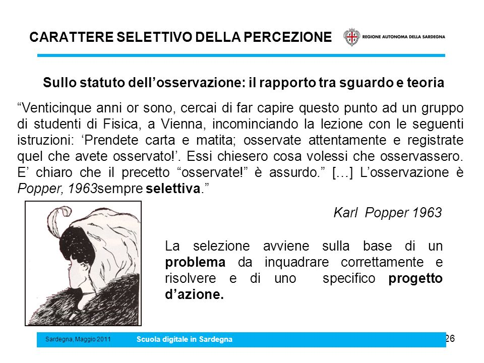 CARATTERE SELETTIVO DELLA PERCEZIONE 26 Sardegna, Maggio 2011 Scuola digitale in Sardegna La selezione avviene sulla base di un problema da inquadrare