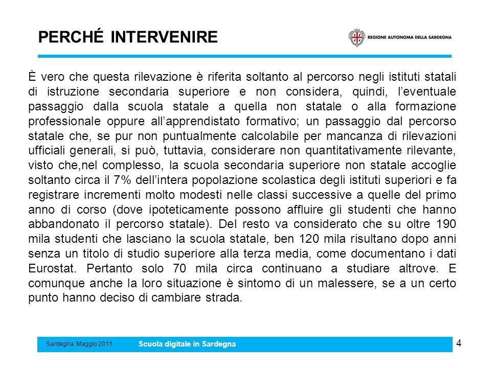 4 PERCHÉ INTERVENIRE Sardegna, Maggio 2011 Scuola digitale in Sardegna È vero che questa rilevazione è riferita soltanto al percorso negli istituti st