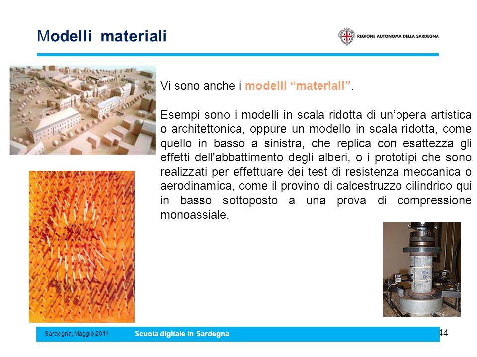 44 Modelli materiali Sardegna, Maggio 2011 Scuola digitale in Sardegna Vi sono anche i modelli materiali. Esempi sono i modelli in scala ridotta di un