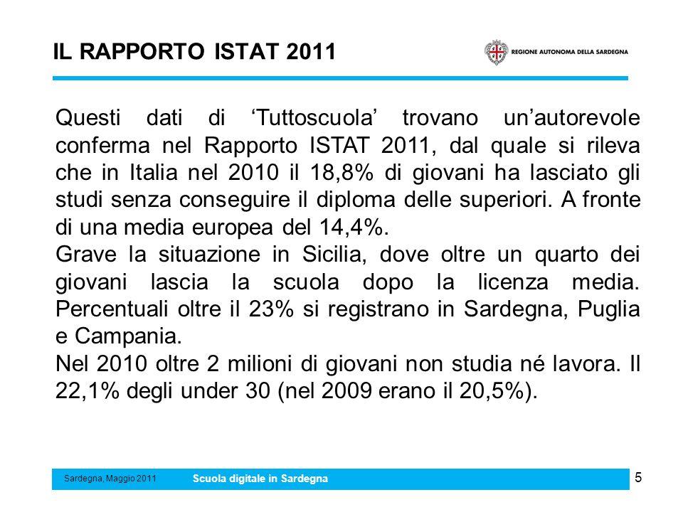 5 IL RAPPORTO ISTAT 2011 Sardegna, Maggio 2011 Scuola digitale in Sardegna Questi dati di Tuttoscuola trovano unautorevole conferma nel Rapporto ISTAT