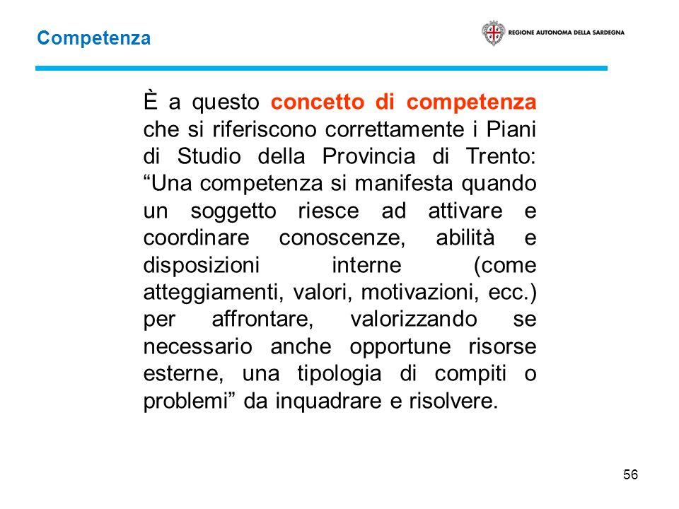 56 È a questo concetto di competenza che si riferiscono correttamente i Piani di Studio della Provincia di Trento: Una competenza si manifesta quando