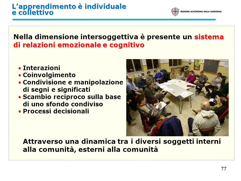 77 sistema di relazioni emozionale e cognitivo Nella dimensione intersoggettiva è presente un sistema di relazioni emozionale e cognitivo Interazioni