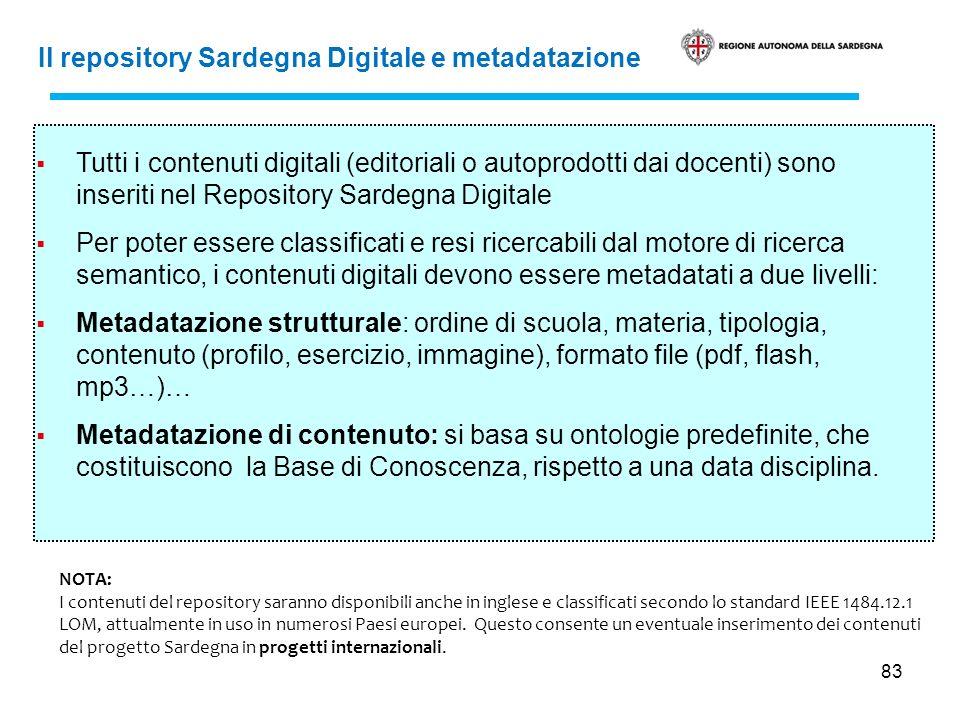 83 Il repository Sardegna Digitale e metadatazione Tutti i contenuti digitali (editoriali o autoprodotti dai docenti) sono inseriti nel Repository Sar