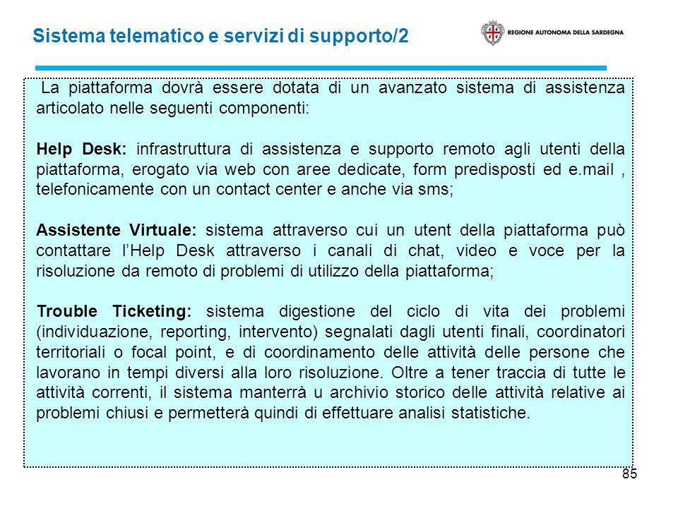 85 Sistema telematico e servizi di supporto/2 La piattaforma dovrà essere dotata di un avanzato sistema di assistenza articolato nelle seguenti compon