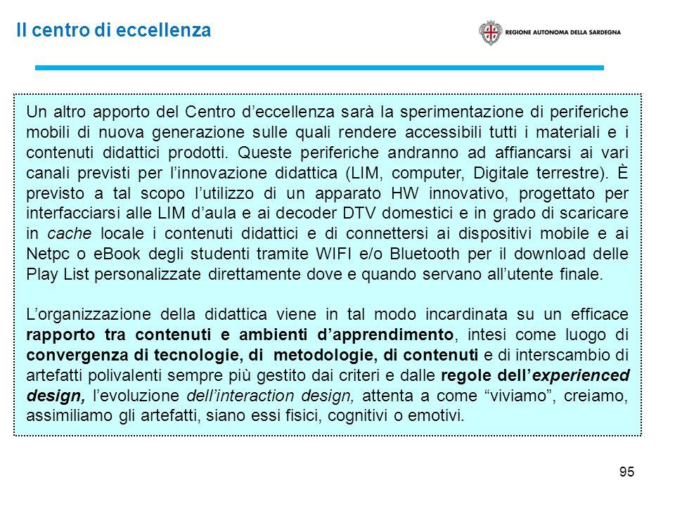 95 Un altro apporto del Centro deccellenza sarà la sperimentazione di periferiche mobili di nuova generazione sulle quali rendere accessibili tutti i
