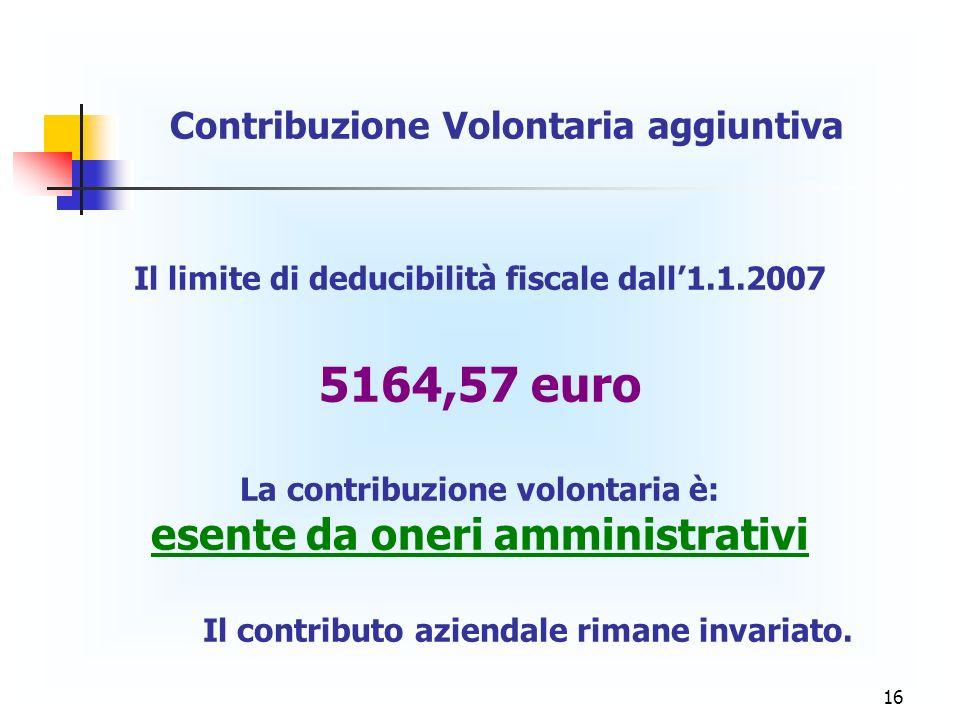 16 Contribuzione Volontaria aggiuntiva Il limite di deducibilità fiscale dall1.1.2007 5164,57 euro La contribuzione volontaria è: esente da oneri ammi