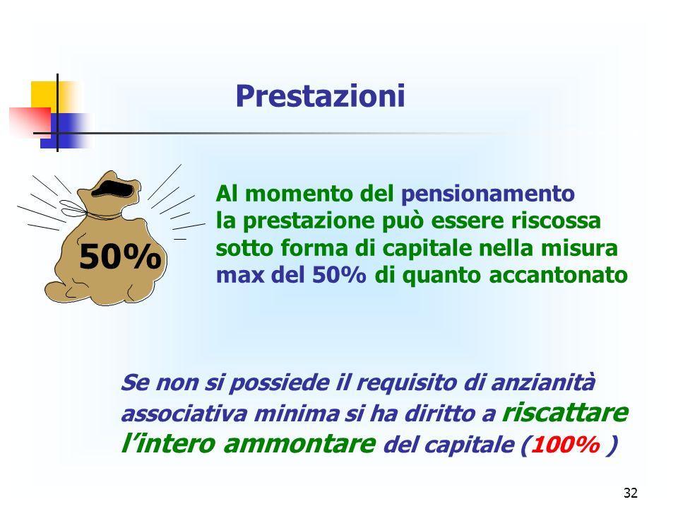 32 Al momento del pensionamento la prestazione può essere riscossa sotto forma di capitale nella misura max del 50% di quanto accantonato Prestazioni