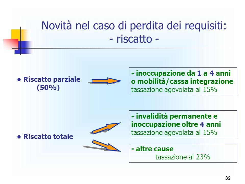39 Novità nel caso di perdita dei requisiti: - riscatto - Riscatto parziale (50%) Riscatto totale - inoccupazione da 1 a 4 anni o mobilità/cassa integ