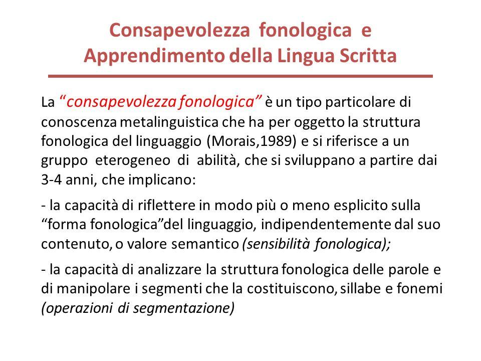 Consapevolezza fonologica e Apprendimento della Lingua Scritta Laconsapevolezza fonologica è un tipo particolare di conoscenza metalinguistica che ha