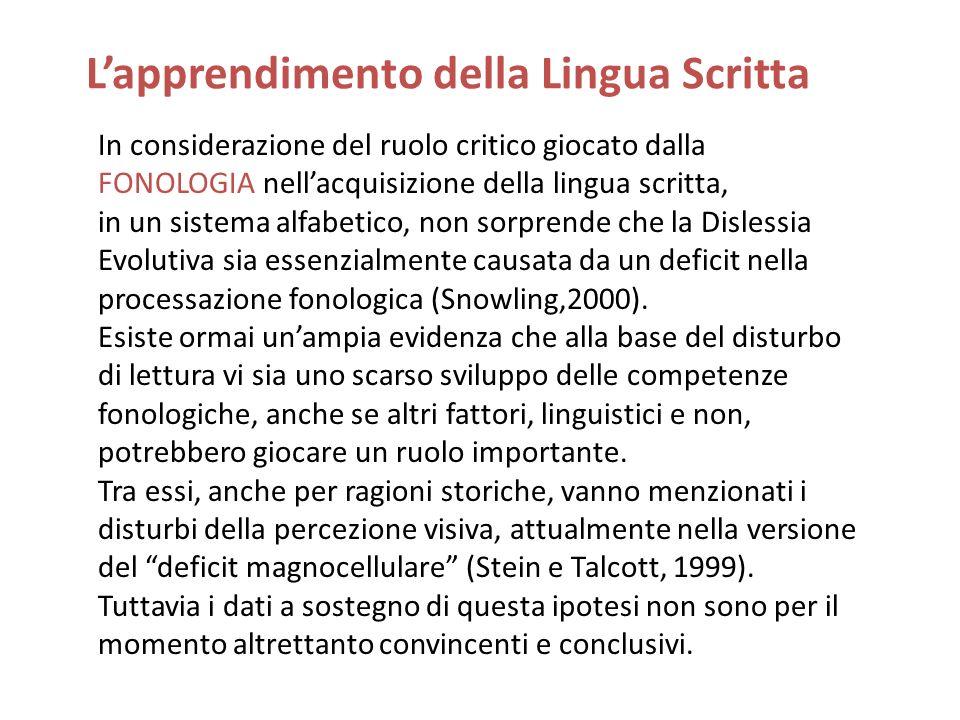 Lapprendimento della Lingua Scritta In considerazione del ruolo critico giocato dalla FONOLOGIA nellacquisizione della lingua scritta, in un sistema a
