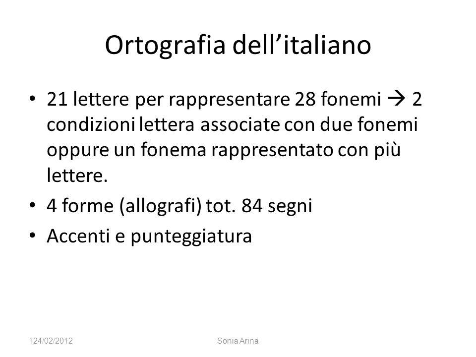 Ortografia dellitaliano 21 lettere per rappresentare 28 fonemi 2 condizioni lettera associate con due fonemi oppure un fonema rappresentato con più le