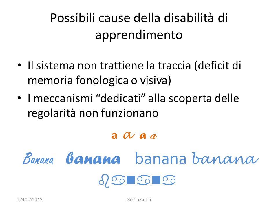 Possibili cause della disabilità di apprendimento Il sistema non trattiene la traccia (deficit di memoria fonologica o visiva) I meccanismi dedicati alla scoperta delle regolarità non funzionano a a Banana banana banana banana 124/02/2012Sonia Arina