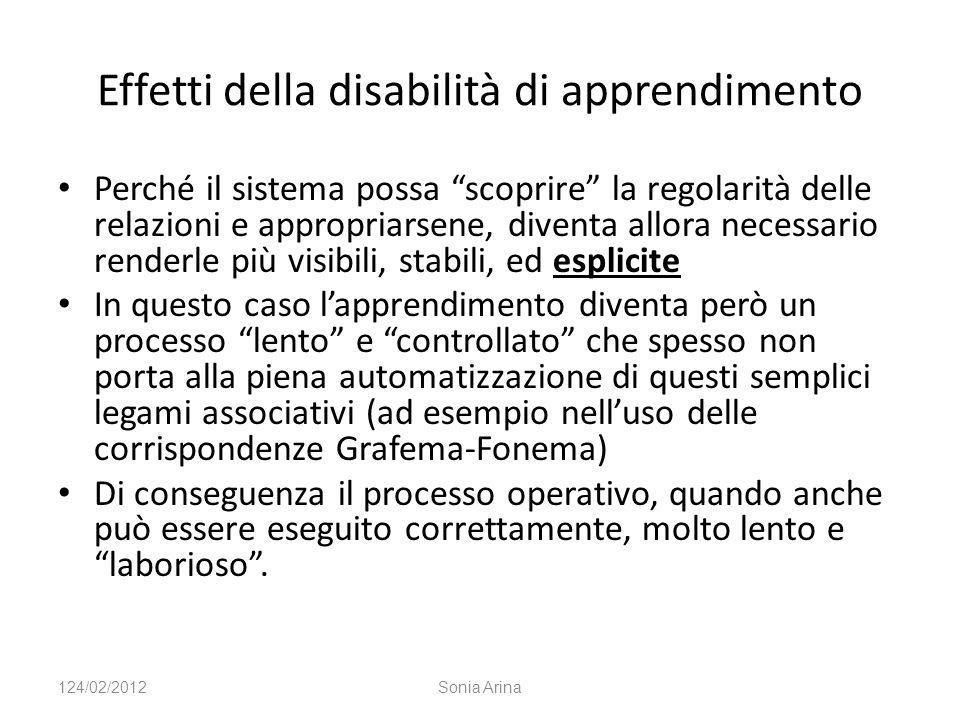 Effetti della disabilità di apprendimento Perché il sistema possa scoprire la regolarità delle relazioni e appropriarsene, diventa allora necessario r