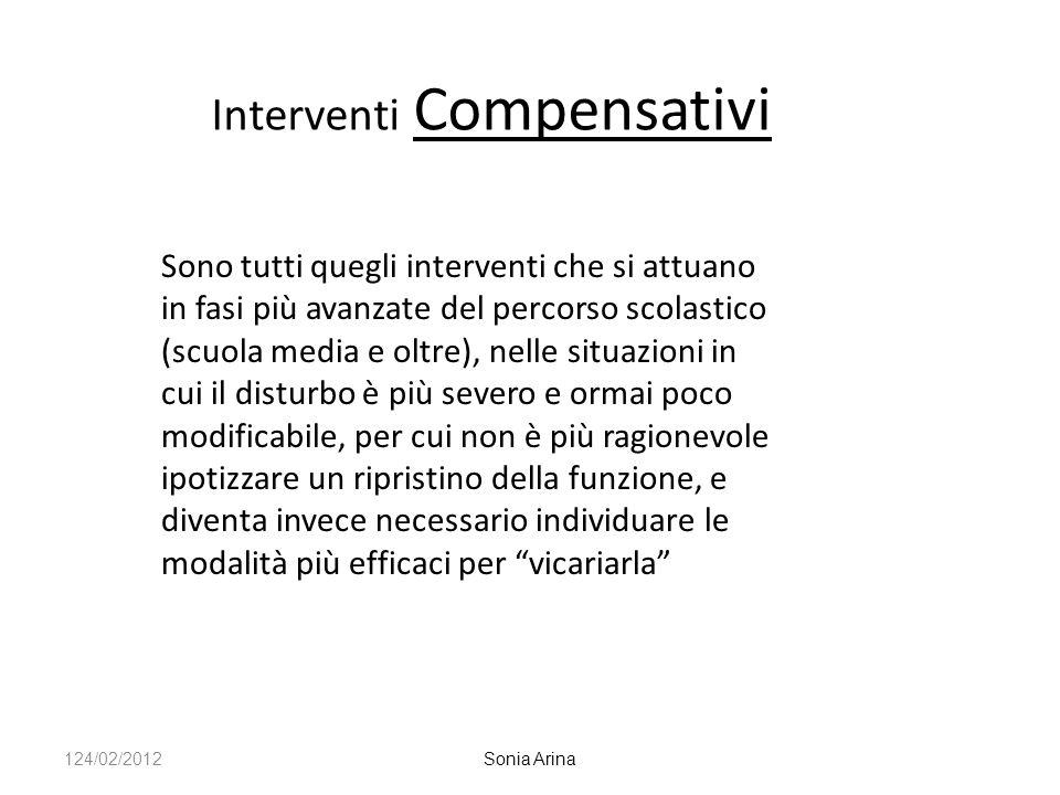 Interventi Compensativi Sono tutti quegli interventi che si attuano in fasi più avanzate del percorso scolastico (scuola media e oltre), nelle situazi