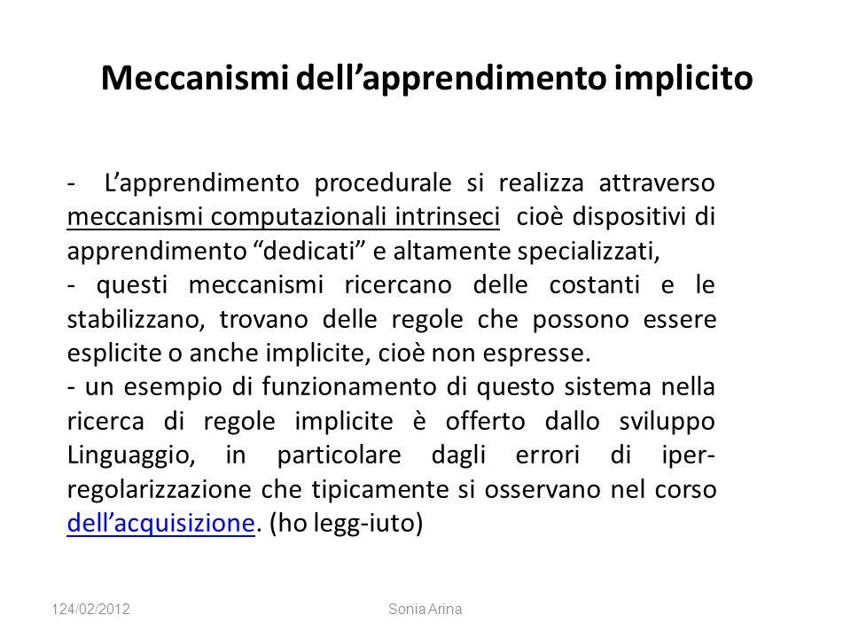 Meccanismi dellapprendimento implicito - Lapprendimento procedurale si realizza attraverso meccanismi computazionali intrinseci cioè dispositivi di ap