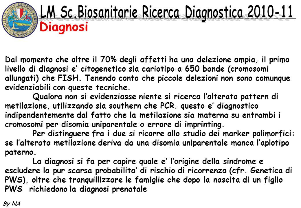 By NA Diagnosi Dal momento che oltre il 70% degli affetti ha una delezione ampia, il primo livello di diagnosi e citogenetico sia cariotipo a 650 band