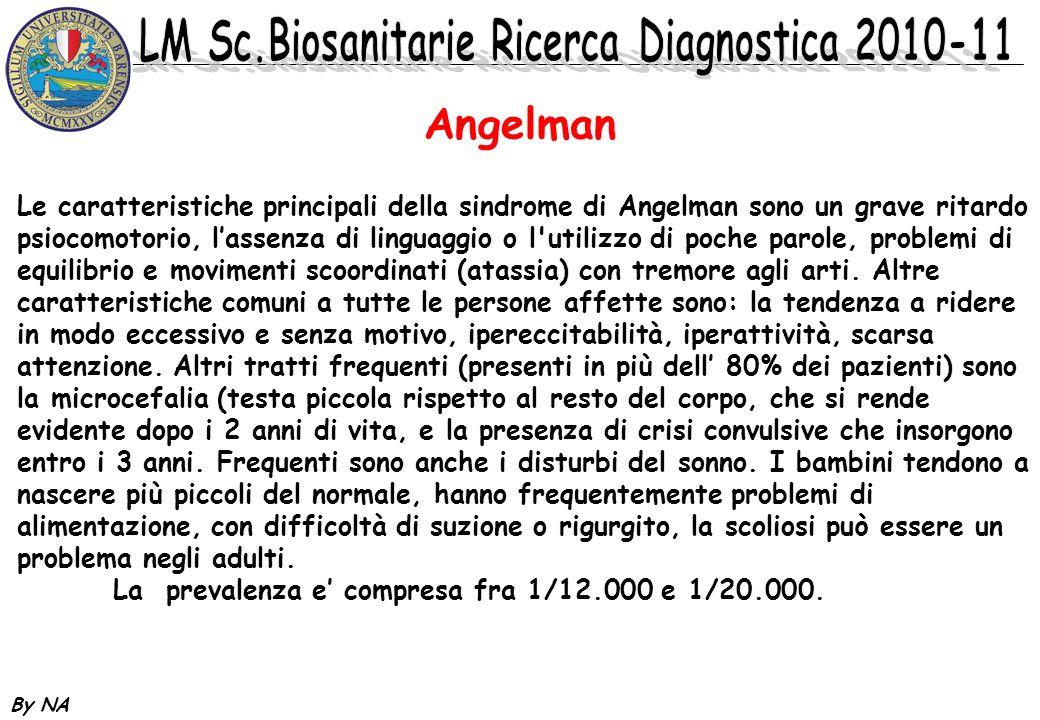 By NA Angelman Le caratteristiche principali della sindrome di Angelman sono un grave ritardo psiocomotorio, lassenza di linguaggio o l'utilizzo di po