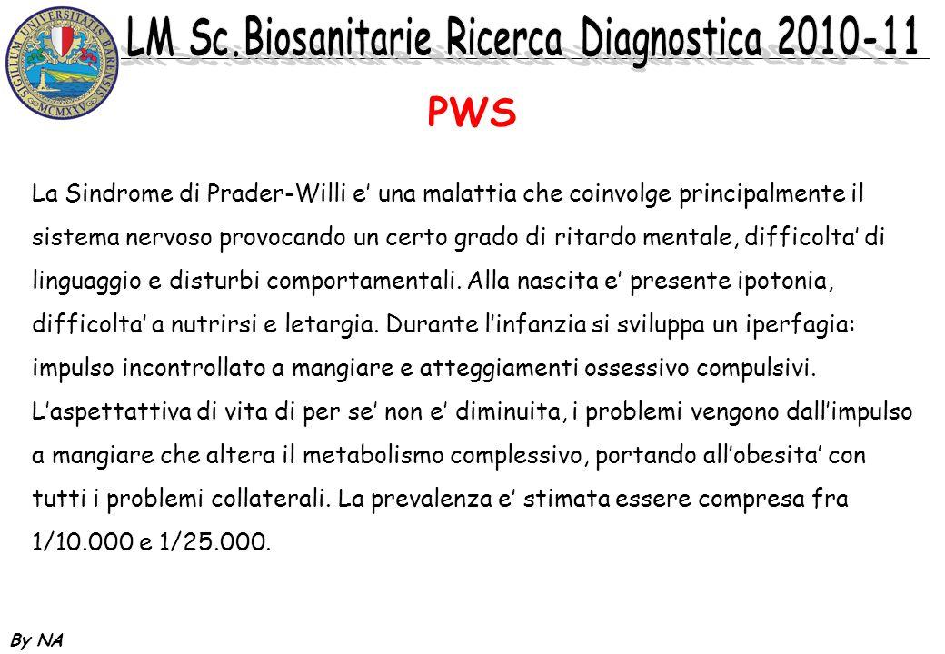 By NA Genetica di PWS / nel ~75% anomalie citogenetiche di cui ~70% delezioni fino a 4Mb anche visibili citogeneticamente / nel ~20% Disomia uniparentale / nel ~ 2% errori di imprinting Anomalie cromosomiche :Delezione se de novo <1%.