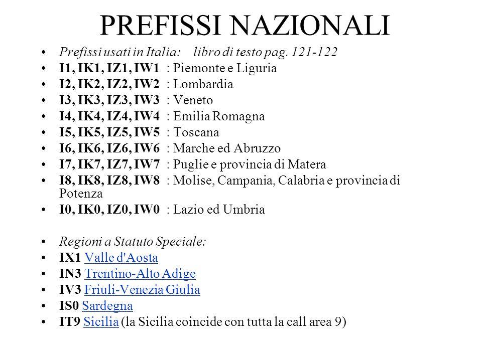PREFISSI NAZIONALI Prefissi usati in Italia: libro di testo pag. 121-122 I1, IK1, IZ1, IW1 : Piemonte e Liguria I2, IK2, IZ2, IW2 : Lombardia I3, IK3,