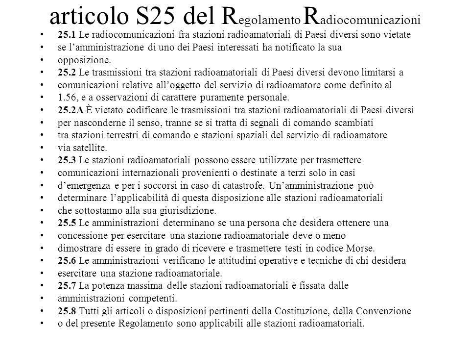 articolo S25 del R egolamento R adiocomunicazioni 25.1 Le radiocomunicazioni fra stazioni radioamatoriali di Paesi diversi sono vietate se lamministra