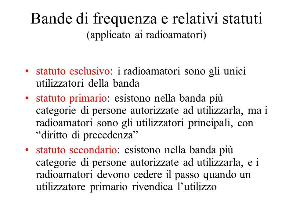 Bande di frequenza e relativi statuti (applicato ai radioamatori) statuto esclusivo: i radioamatori sono gli unici utilizzatori della banda statuto pr