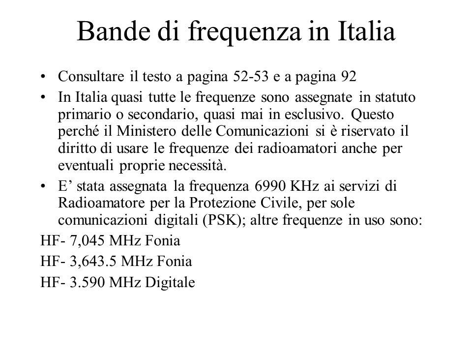 Bande di frequenza in Italia Consultare il testo a pagina 52-53 e a pagina 92 In Italia quasi tutte le frequenze sono assegnate in statuto primario o