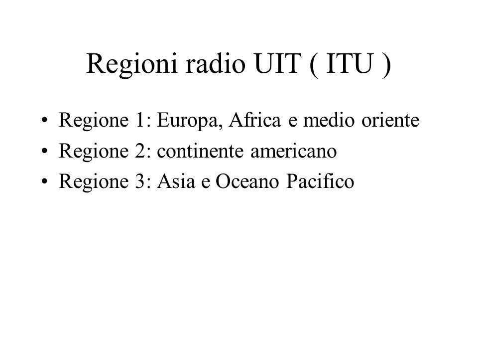 Regioni radio UIT ( ITU ) Regione 1: Europa, Africa e medio oriente Regione 2: continente americano Regione 3: Asia e Oceano Pacifico