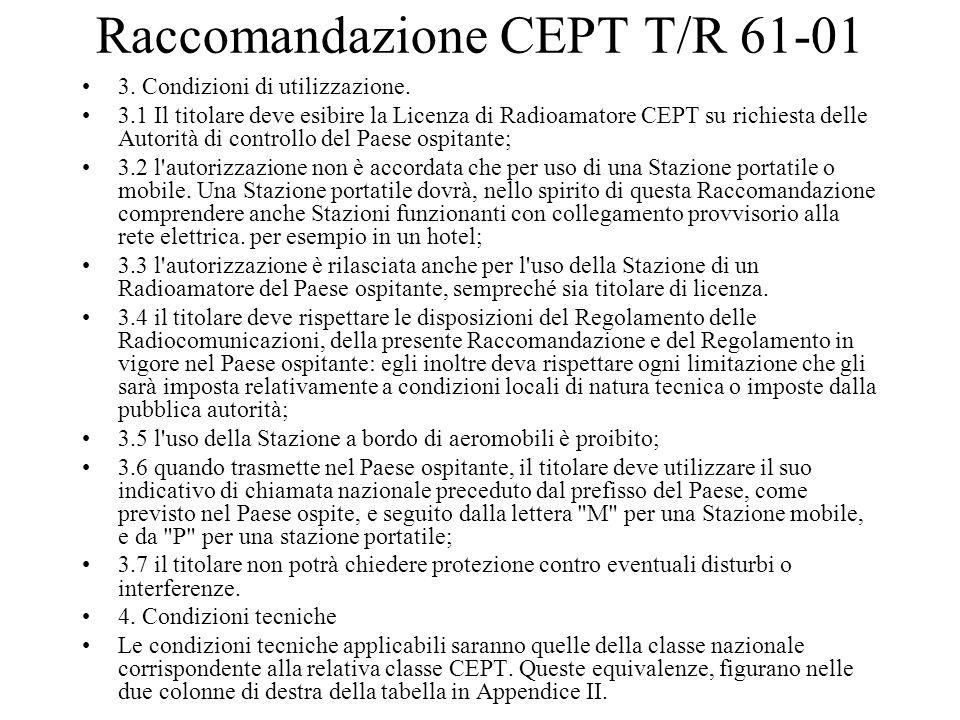 Raccomandazione CEPT T/R 61-01 3. Condizioni di utilizzazione. 3.1 Il titolare deve esibire la Licenza di Radioamatore CEPT su richiesta delle Autorit